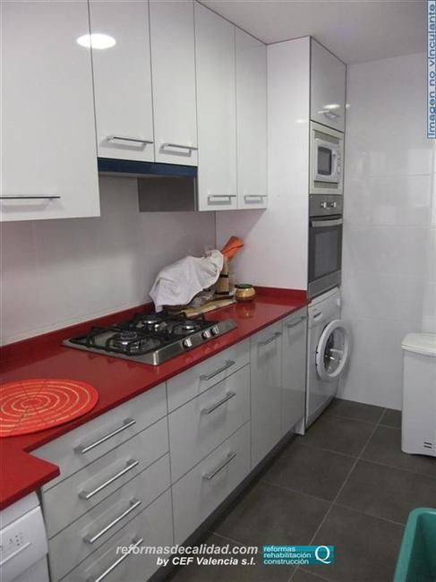 Muebles de cocina blancos con encimera roja - Encimeras laminadas de cocina ...