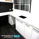 Proyecto y diseño de cocina reformada en Aldaia con mezcla de negro y blanco y mobiliario en Formica