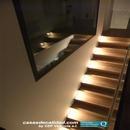 Vista iluminación en escalera desde zona superior